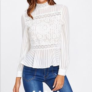 High Neck White Lace Long Sleeve Blouse